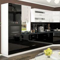 Кухня Гамма Лак Белый/Черный 1 метр погонный