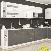 Кухня Гамма Лак Белый/Серый 1 метр погонный