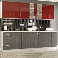 Кухня Гамма Лак Красный/Серый 1 метр погонный