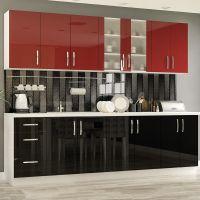 Кухня Гамма Лак Красный/Черный 1 метр погонный
